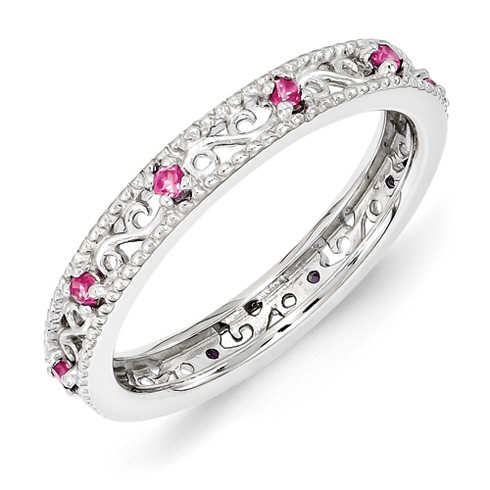 Sterling Silver 1/5 ct Created Pink Sapphire Eternity Ring