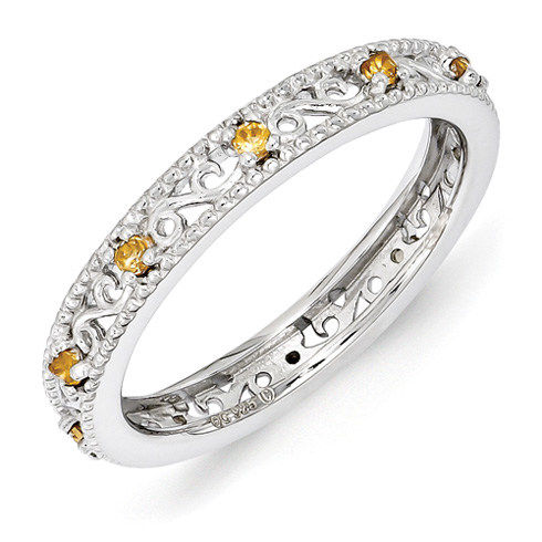 Sterling Silver 1/6 ct Citrine Eternity Ring