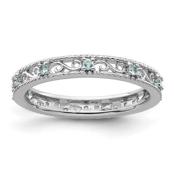 Sterling Silver 1/5 ct Blue Topaz Eternity Ring