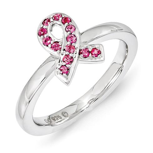 Sterling Silver Stackable Ribbon Ring Rose Swarovski Elements
