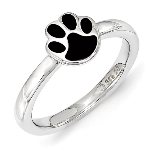 Sterling Silver Stackable Enamel Paw Print Ring