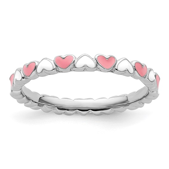 Sterling Silver Stackable Pink and White Hearts Enamel Ring