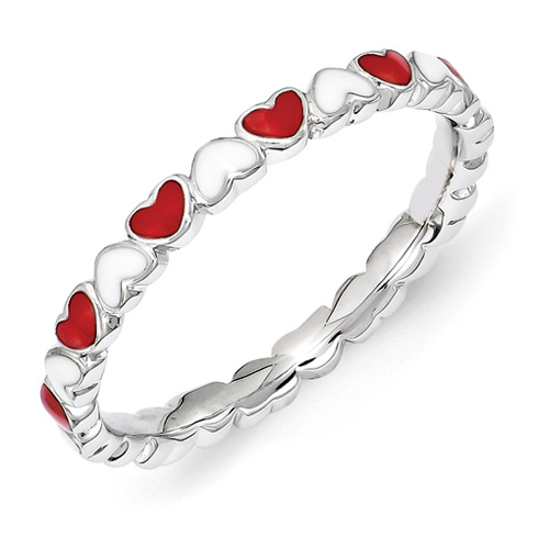 Sterling Silver Stackable Red and White Hearts Enamel Ring