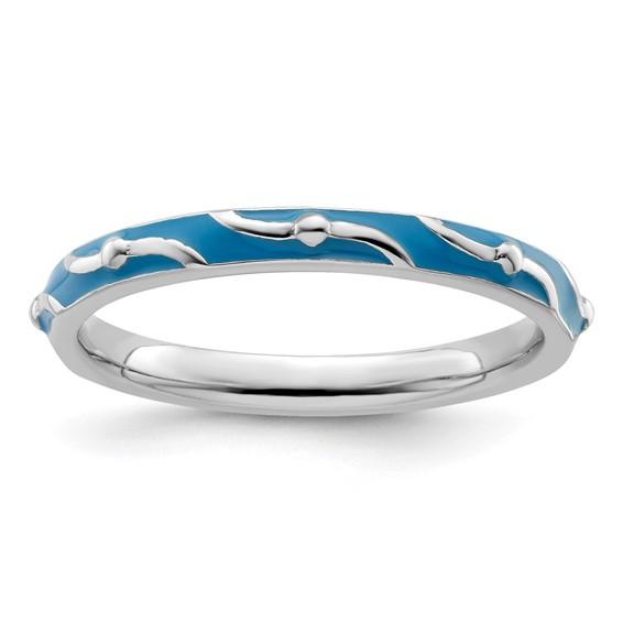 Sterling Silver Stackable Wavy Blue Enamel Ring