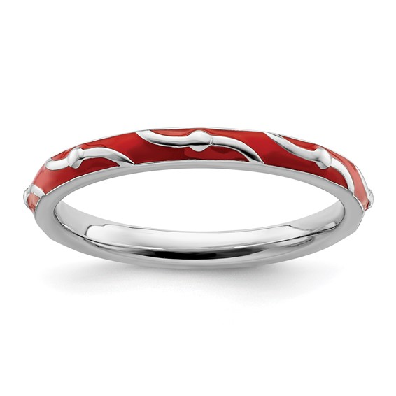 Sterling Silver Stackable Wavy Red Enamel Ring