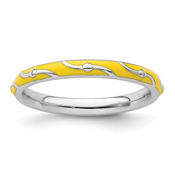 Sterling Silver Stackable Wavy Yellow Enamel Ring