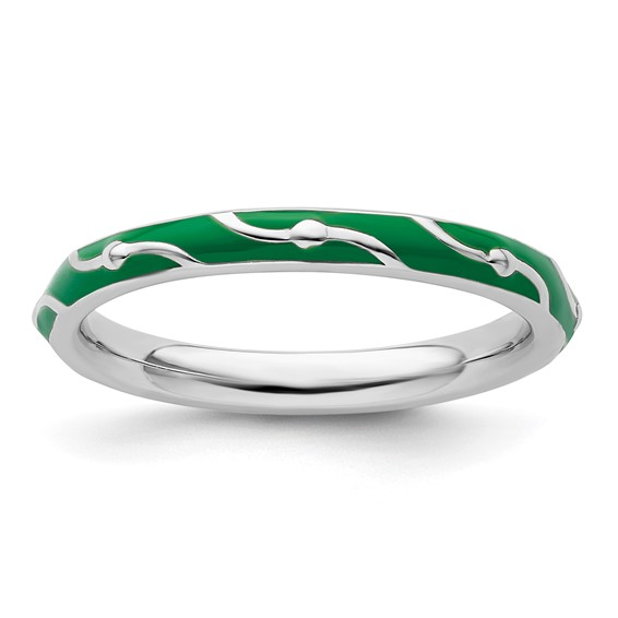 Sterling Silver Stackable Wavy Green Enamel Ring