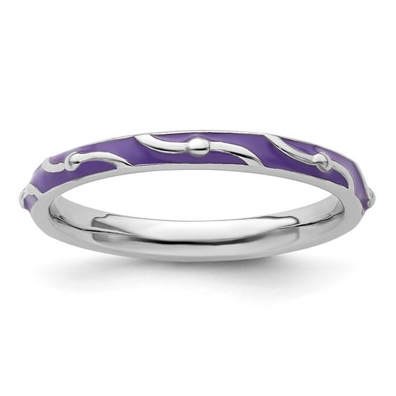 Sterling Silver Stackable Wavy Purple Enamel Ring