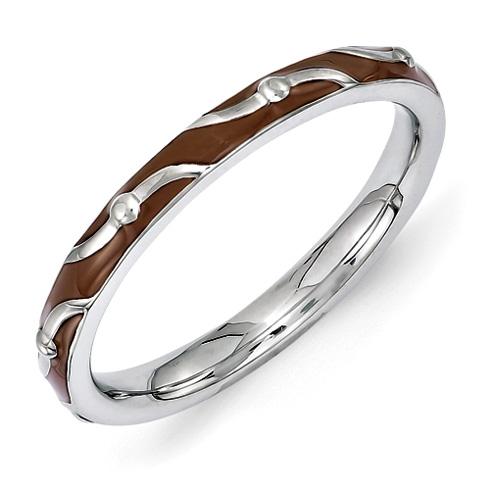 Sterling Silver Stackable Wavy Brown Enamel Ring