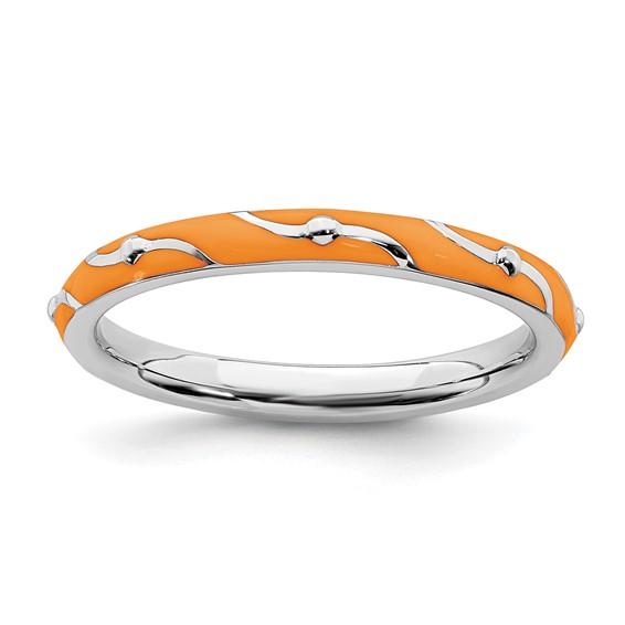 Sterling Silver Stackable Wavy Orange Enamel Ring