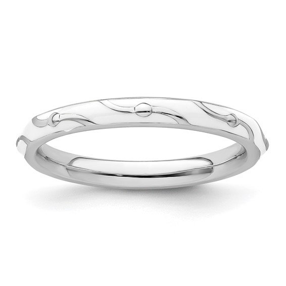 Sterling Silver Stackable Wavy White Enamel Ring