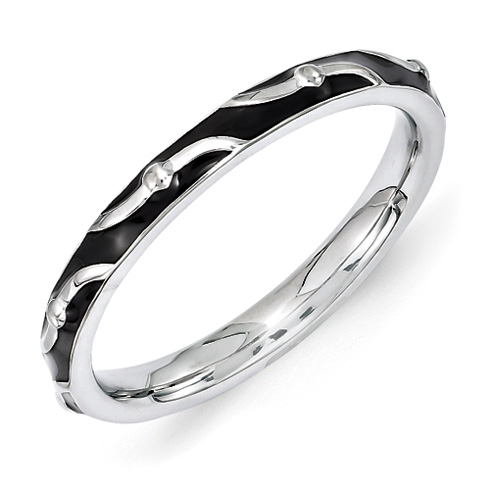 Sterling Silver Stackable Wavy Black Enamel Ring