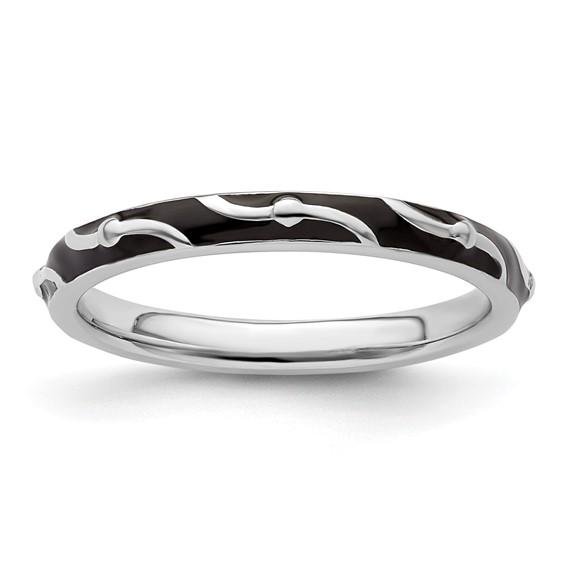 Sterling Silver Stackable Wavy Black Enamel Ring