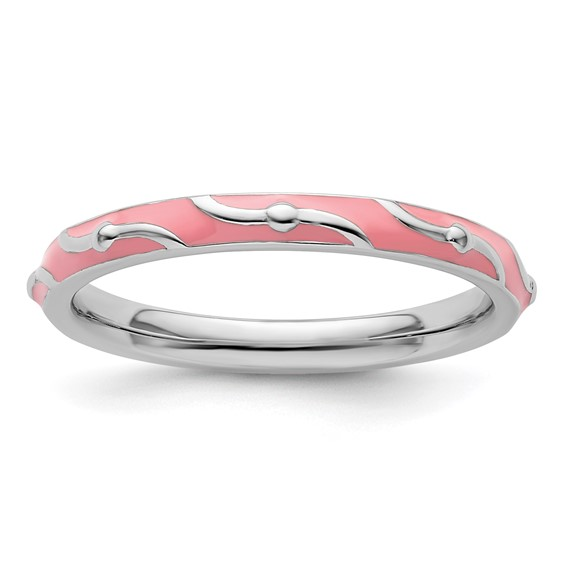 Sterling Silver Stackable Wavy Pink Enamel Ring