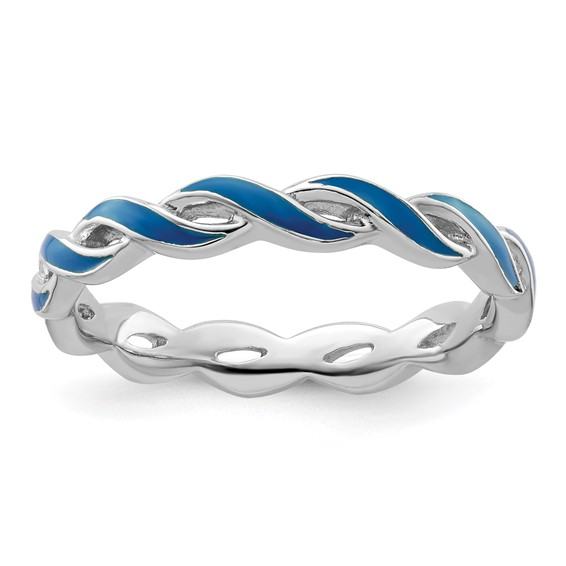 Sterling Silver Stackable Twist Blue Enamel Ring