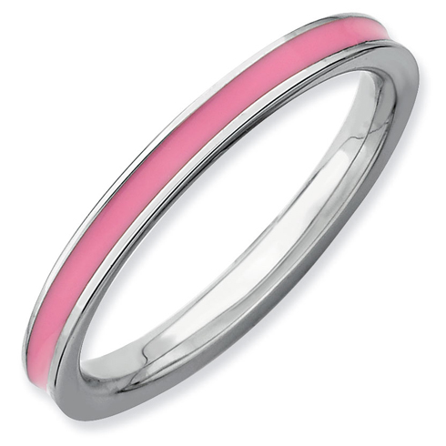 Sterling Silver Stackable Expressions Pink Enameled 2.25mm Ring