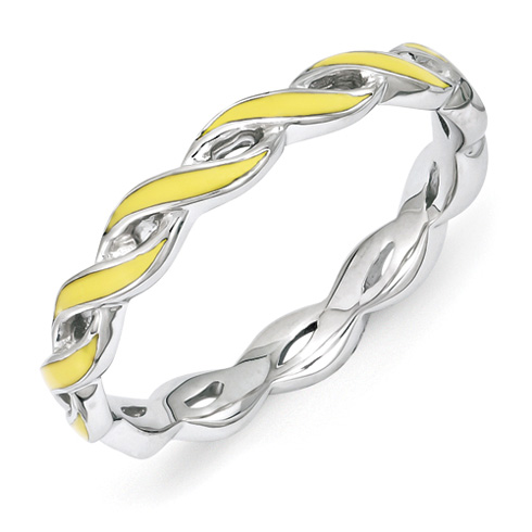 Sterling Silver Stackable Twist Yellow Enamel Ring