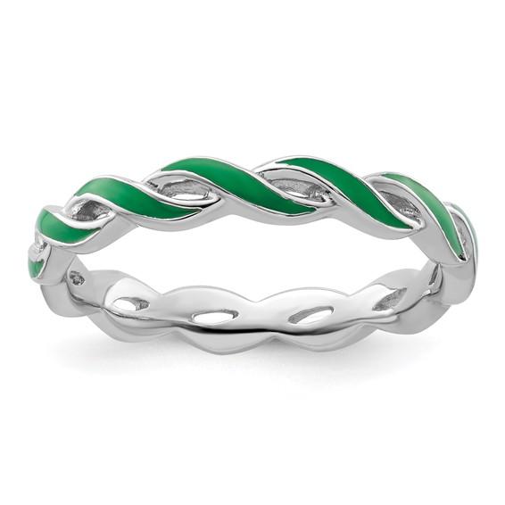 Sterling Silver Stackable Twist Green Enamel Ring