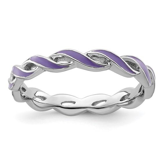 Sterling Silver Stackable Twist Purple Enamel Ring