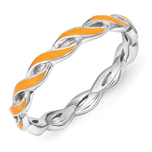 Sterling Silver Stackable Twist Orange Enamel Ring