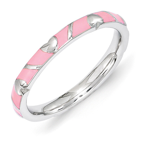 Sterling Silver Stackable Pink Heart Enamel Ring
