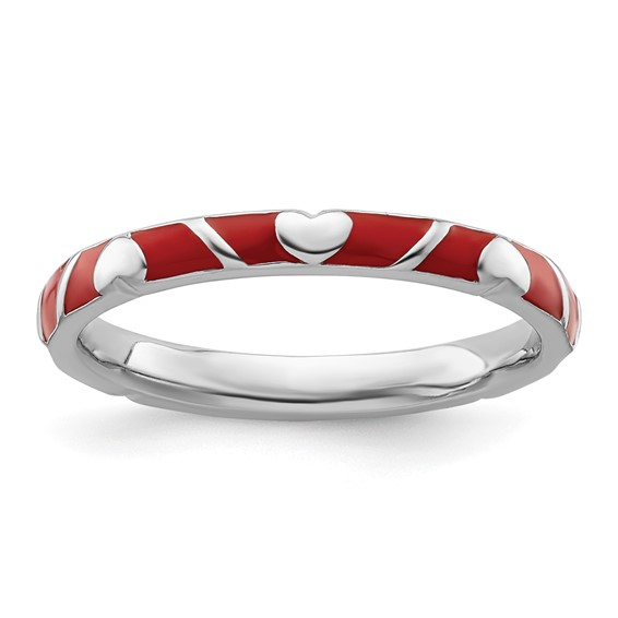 Sterling Silver Stackable Red Heart Enamel Ring