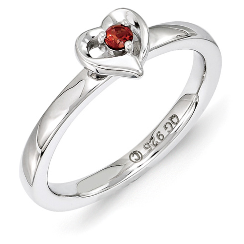 Sterling Silver Stackable Garnet Heart Ring