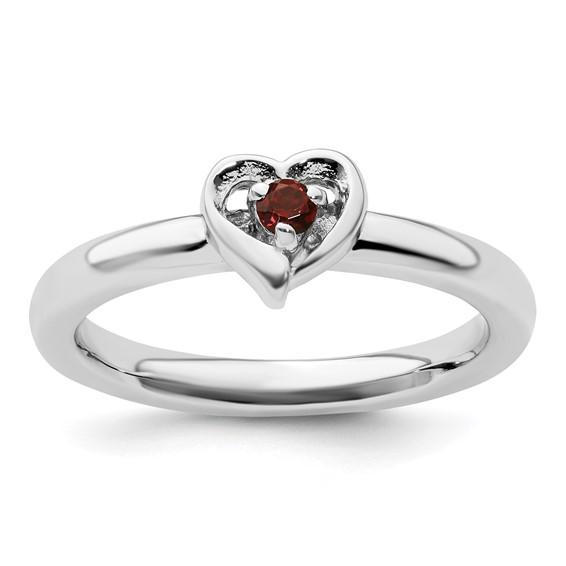 Sterling Silver Stackable Garnet Heart Ring