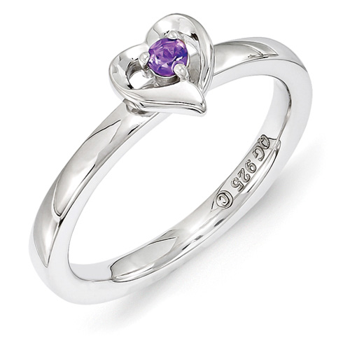 Sterling Silver Stackable Amethyst Heart Ring