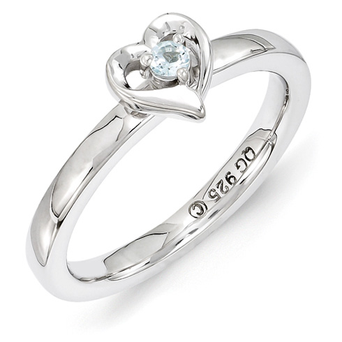 Sterling Silver Stackable Aquamarine Heart Ring
