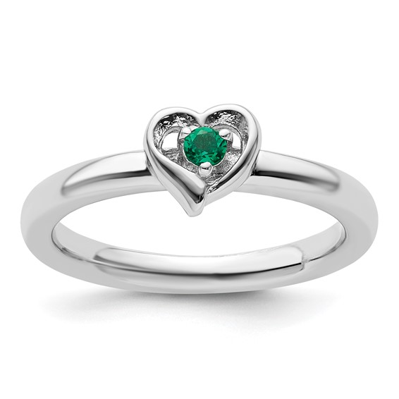 Sterling Silver Stackable Created Emerald Heart Ring