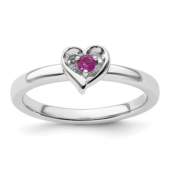 Sterling Silver Stackable Rhodolite Garnet Heart Ring