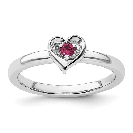 Sterling Silver Stackable Created Ruby Heart Ring