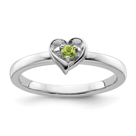 Sterling Silver Stackable Peridot Heart Ring