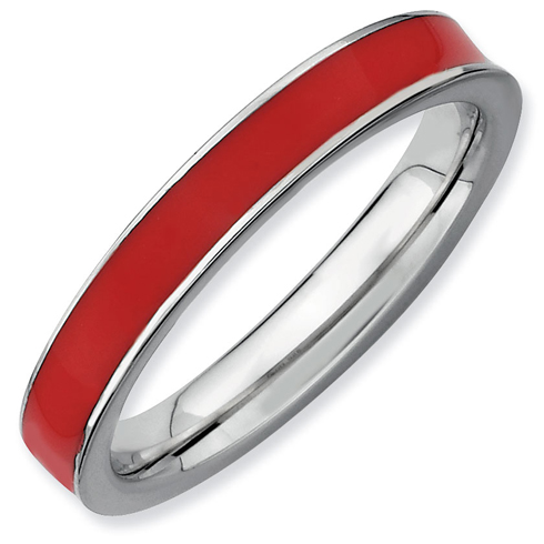 Sterling Silver Stackable Expressions Red Enameled 3.25mm Ring