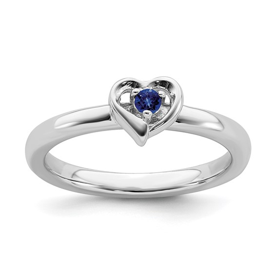 Sterling Silver Created Blue Sapphire Heart Ring