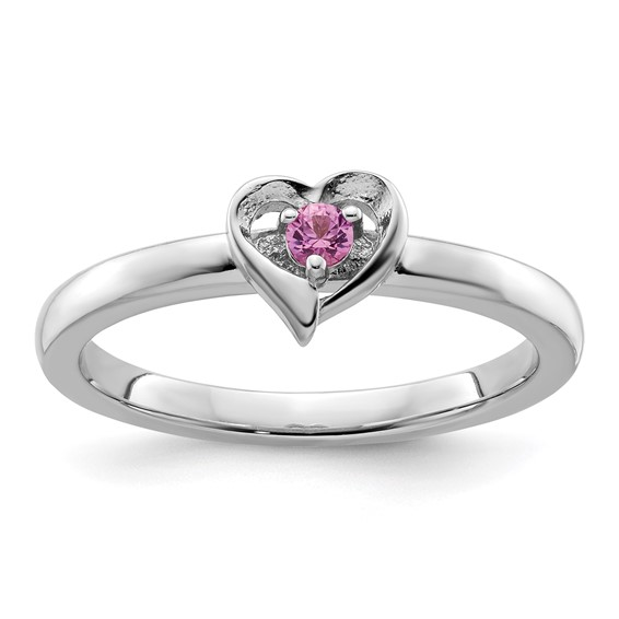 Sterling Silver Created Pink Sapphire Heart Ring