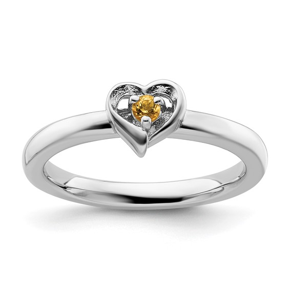 Sterling Silver Citrine Heart Ring
