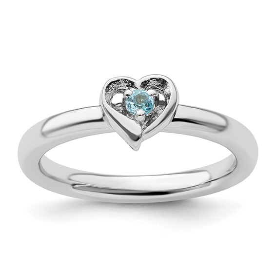 Sterling Silver Stackable Blue Topaz Heart Ring