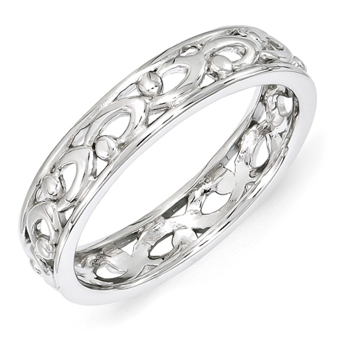 4.25mm Sterling Silver Stackable Carved Ring