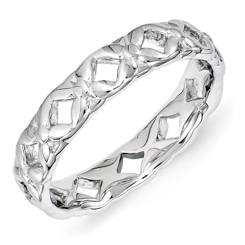 4.5mm Sterling Silver Stackable Carved Cut Out Ring