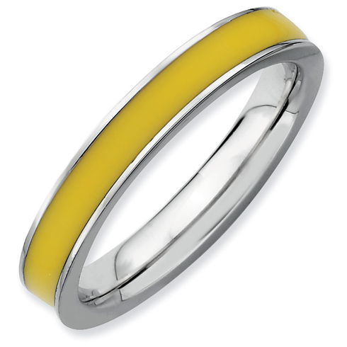 Sterling Silver Stackable Expressions Yellow Enameled 3.25mm Ring