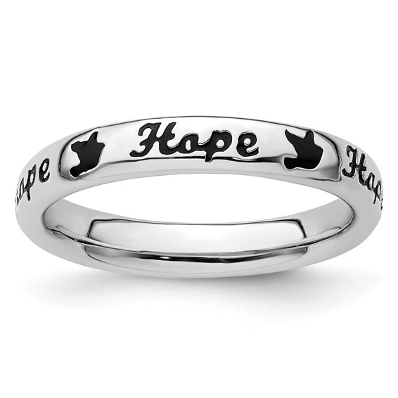 Sterling Silver Stackable Black Enamel Hope Ring