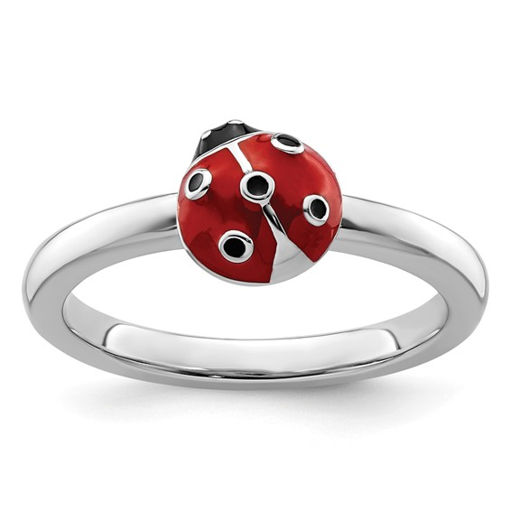 Sterling Silver Stackable Ladybug Ring