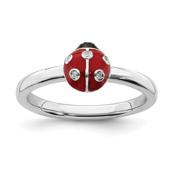 Sterling Silver Stackable Ladybug Ring with Diamonds