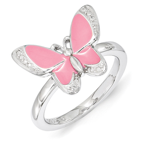 Sterling Silver Stackable Pink Enamel Butterfly Ring
