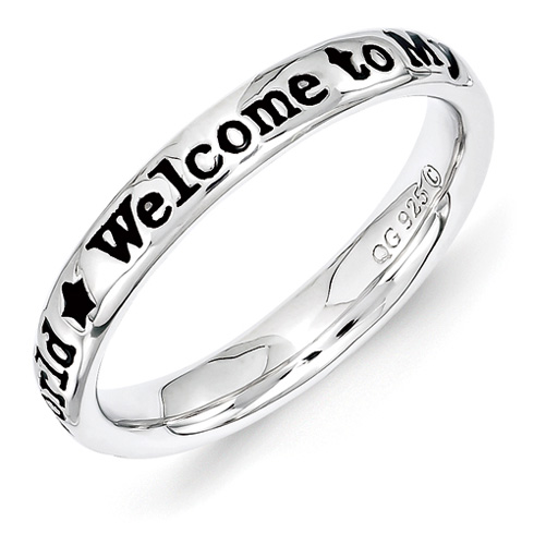 Sterling Silver Stackable Welcome to My World Ring
