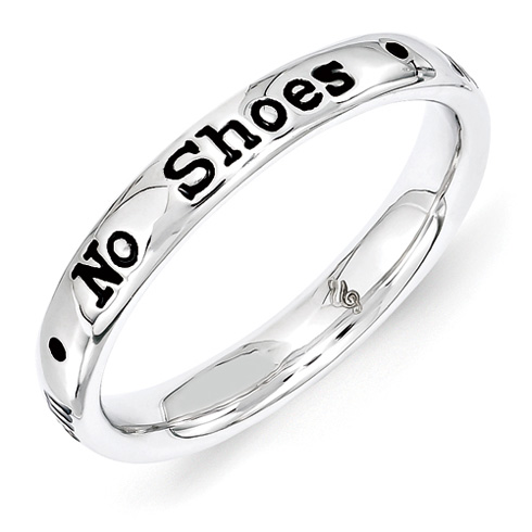 Sterling Silver Stackable No Shoes No Shirt No Problems Ring