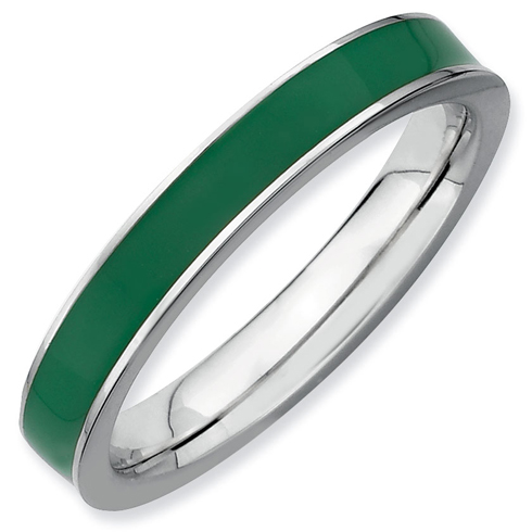 Sterling Silver Stackable Green Enameled 3.25mm Ring