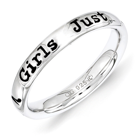 Sterling Silver Stackable Girls Just Want To have Fun Ring